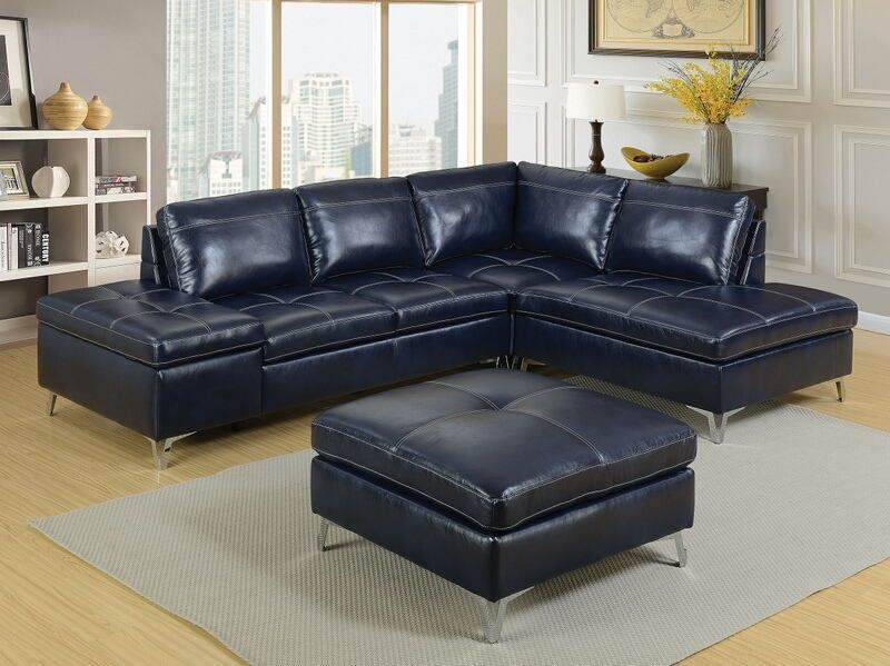 CM6178 3 pc Sadie dark blue leather gel upholstered sectional sofa .