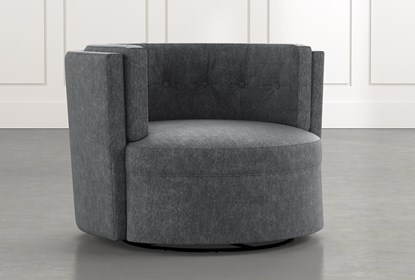 Aidan II Dark Grey Swivel Accent Chair | Living Spac