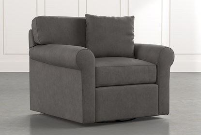 Elm II Dark Grey Swivel Arm Chair | Living Spac