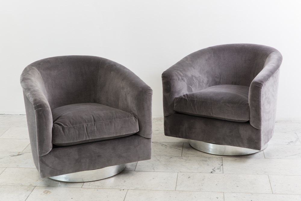 Pair Dark Gray Swivel Chairs by Milo Baughman on artn