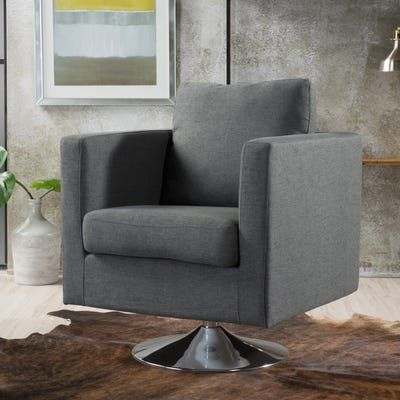 Holden Dark Gray Swivel Chair | Grey swivel chairs, Swivel chair .