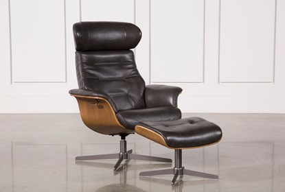 Amala Dark Grey Leather Reclining Swivel Chair With Adjustable .