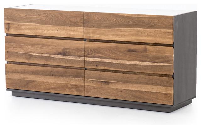 "65"" Secondo Large Dresser Oak Marble Engineered Hardwood Dark ."