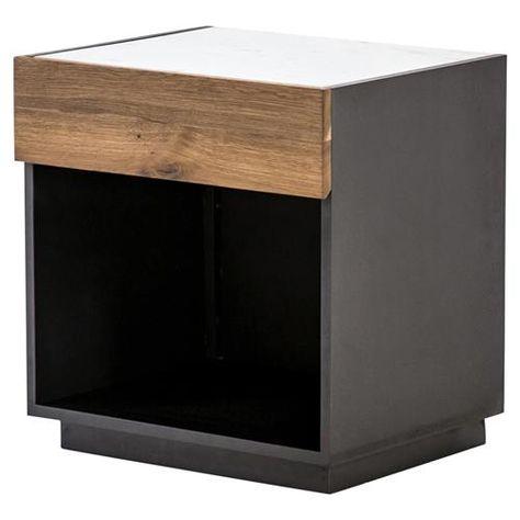 Hailey Modern Classic Smoked Oak Drawer Marble Top Black .