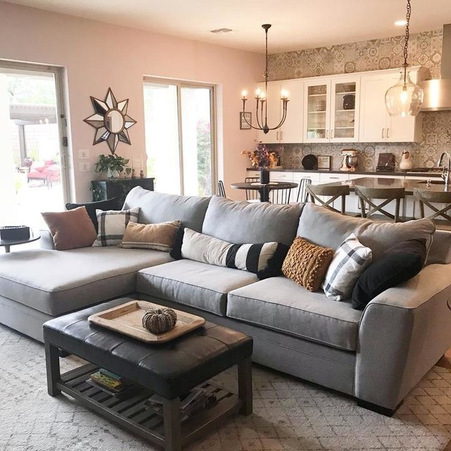 Delano Charcoal 2 Piece Sectional With Left Arm Facing Chaise .