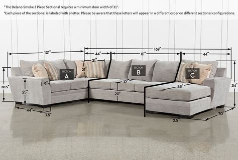 Delano Smoke 3 Piece Sectional | 3 piece section