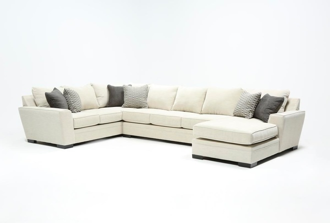 Delano Pearl 3 Piece Sectional With Right Arm Facing Chaise .