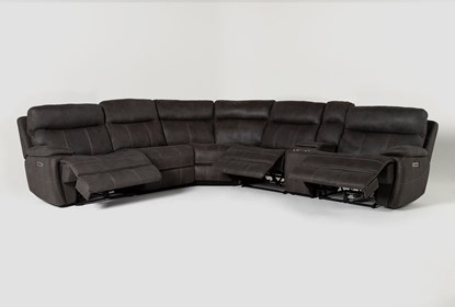 Denali II Charcoal 6 Piece Reclining Sectional With 2 Power .