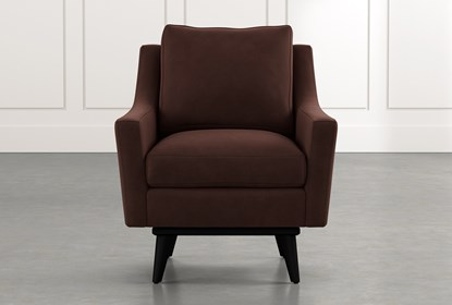 Devon II Brown Swivel Accent Chair | Living Spac