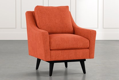 Devon II Orange Swivel Accent Chair | Living Spac