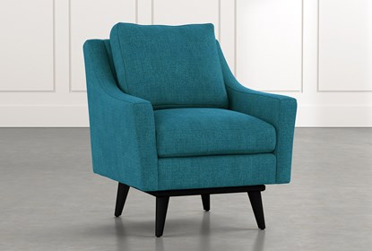 Devon II Teal Swivel Accent Chair | Living Spac
