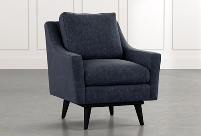 Devon II Navy Blue Swivel Accent Chair | Living Spac