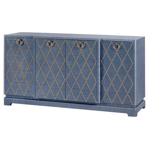 Hadley Mid Century Modern Blue Diamond Patterned Nailhead .