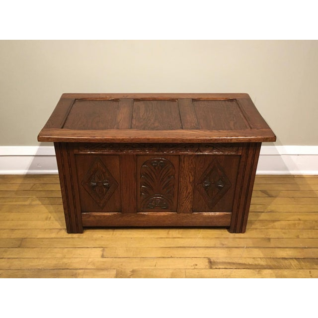 1960s Vintage Carved Oak Coffer | Chairi