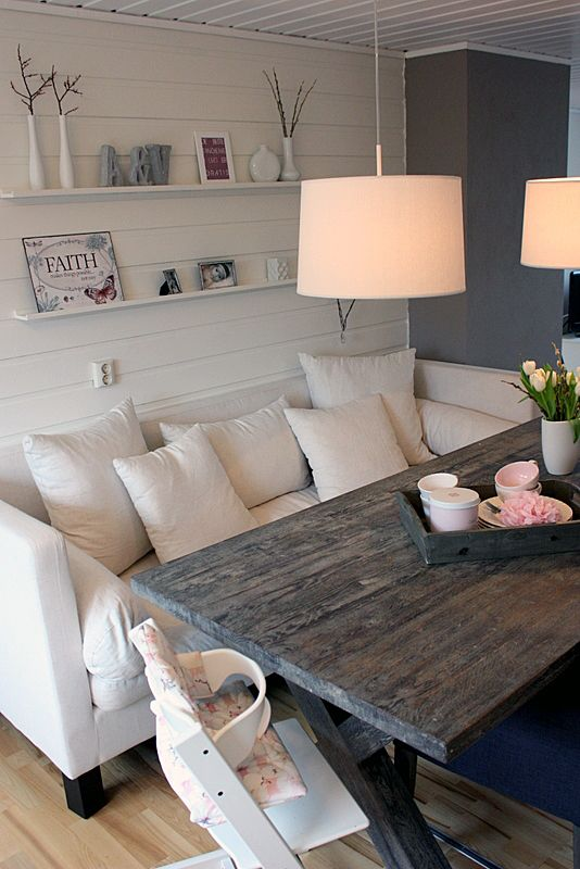 I'm loving this!!! cute casual dinning seating, maybe off a .