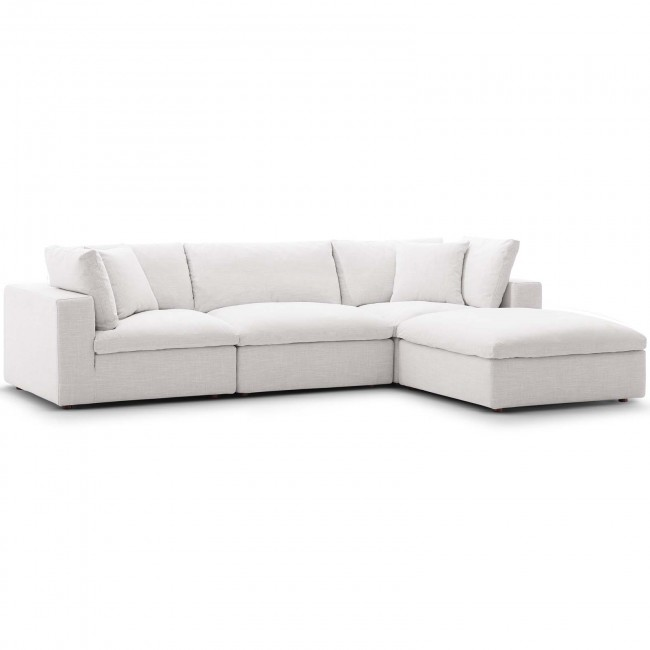 Commix Beige Down Filled Overstuffed 4 Piece Sectional Sofa Set .
