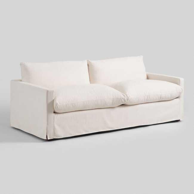 Ivory Feather Filled Brynn Sofa | World Mark