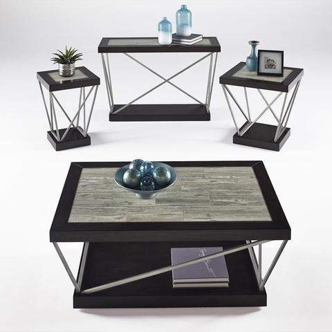Progressive Furniture East Bay Sofa/Console Table in Woodtone Tile .
