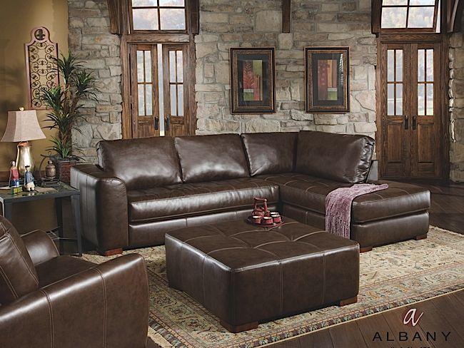 Capri Dark Brown Leather-Look 2-Piece Sectional: Rothman Furniture .