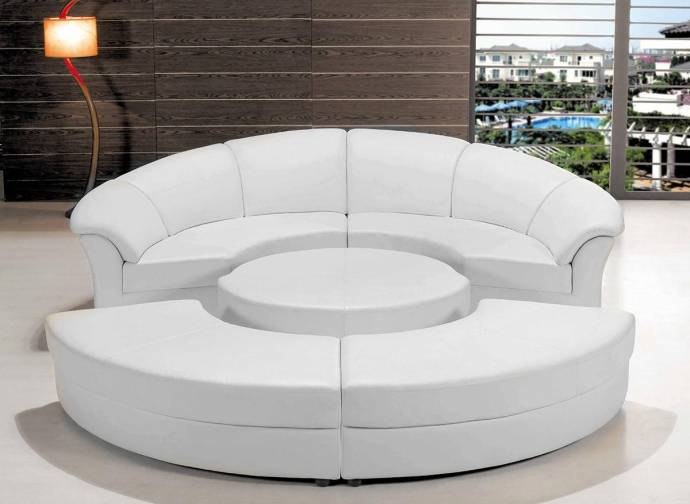 Soflex EL Paso Ultra Modern White Faux Leather Modular Sectional .