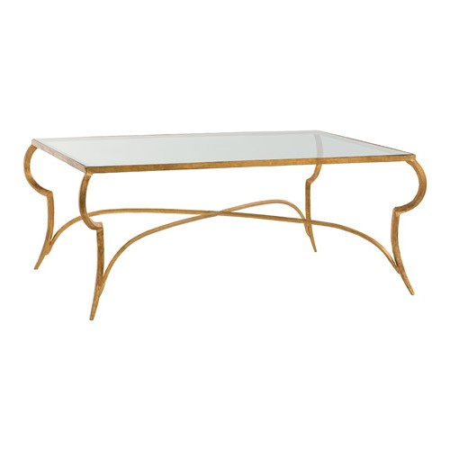 Arteriors 6181 Elba 42 X 18 inch Gold Leaf Cocktail Table, Rectang