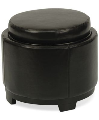 Elba Leather Round Storage Ottoman, Direct Ships for just $9.95 .