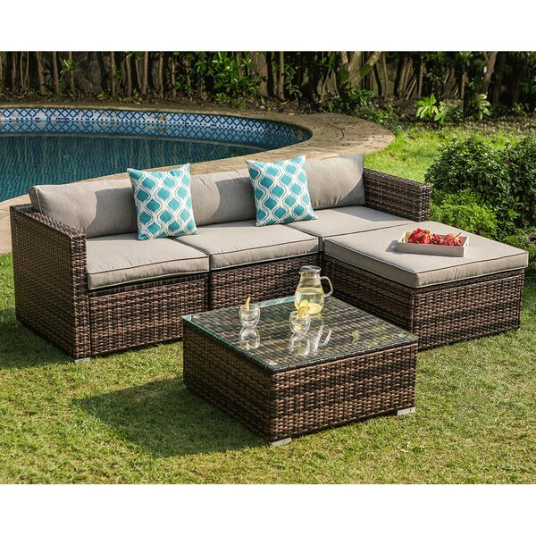 Bay Isle Home Elba 5 Piece Rattan Sectional Seating Group with .