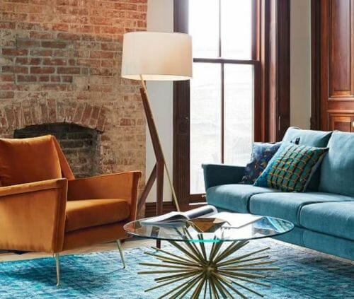 Carlo midcentury modern design sofa and chair from West Elm - nice .