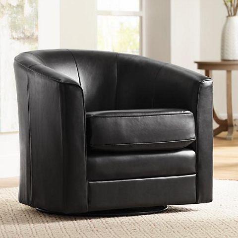 Keller Espresso Bonded Leather Swivel Club Chair - #R2965 | Lamps .