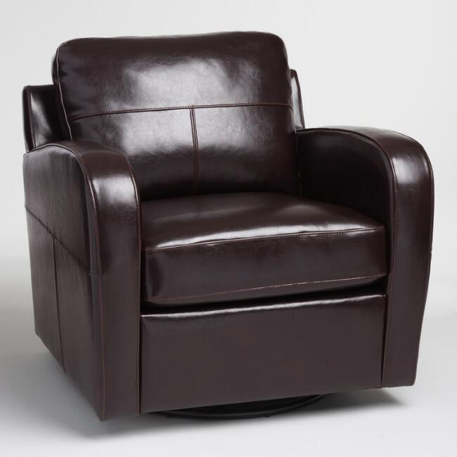 Espresso Bi Cast Leather Mason Swivel Chair | World Mark