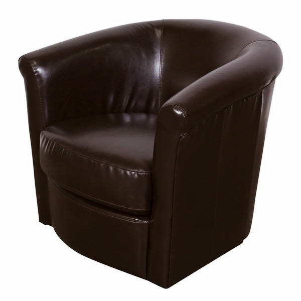 Shop Porter Marvel Espresso Brown Swivel Barrel Accent Chair - 29 .