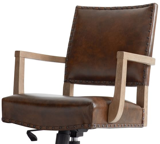 Manchester Leather Swivel Desk Chair | Pottery Ba