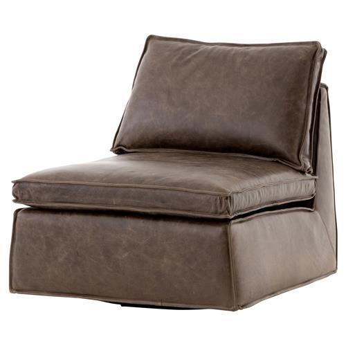 Essa Modern Rustic Espresso Leather Armless Swivel Lounge Chair .