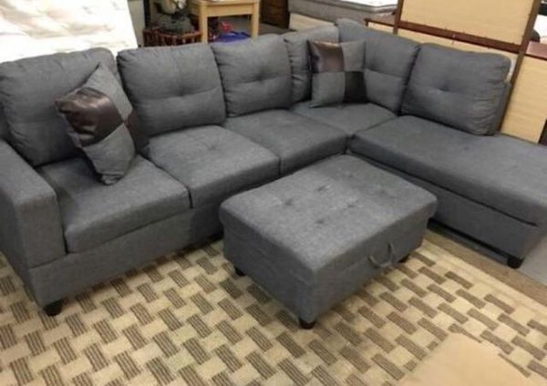 Brand new grey tweed sectional couch for Sale in Everett, WA - Offer