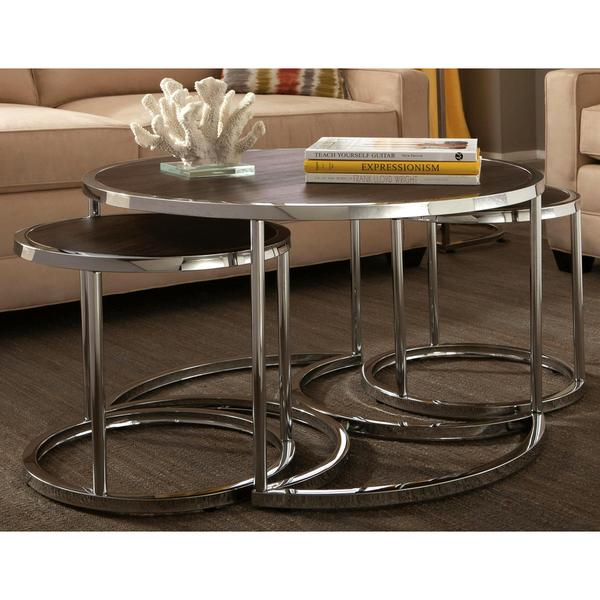 Shop Dorango Modern Chrome 3-piece Cocktail Round Nesting Table .