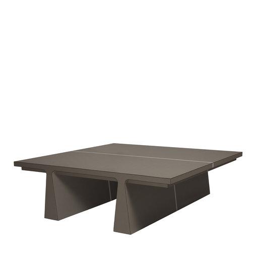 La Linea Brown Leather Coffee Table Giobagnara - Arteme