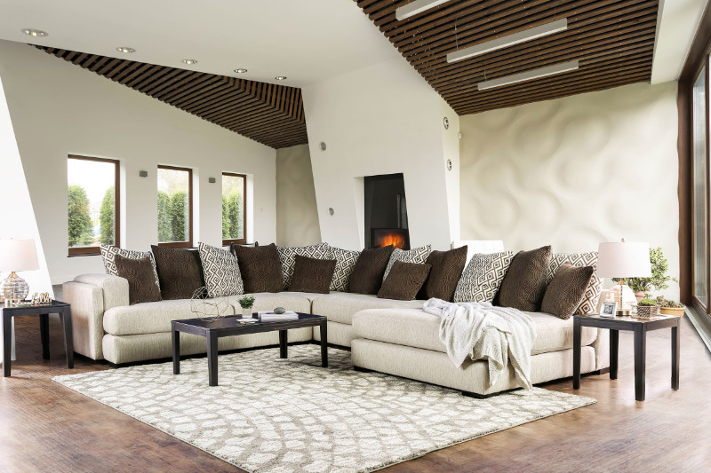SM5180 3 pc Giulana cream woven fabric sectional sofa s
