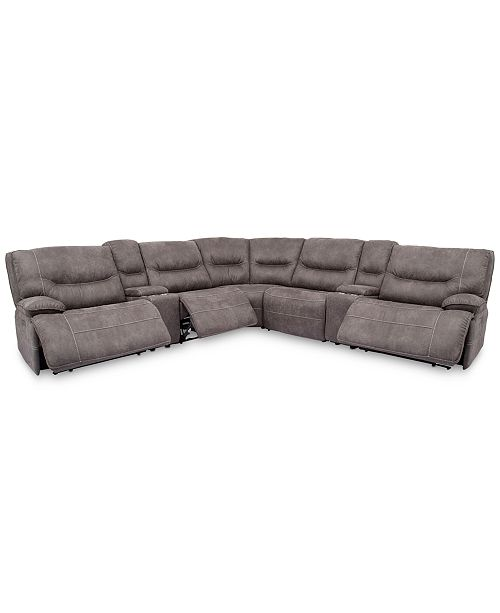 "Furniture Felyx 133"" 7-Pc. Fabric Sectional Sofa With 3 Power ."