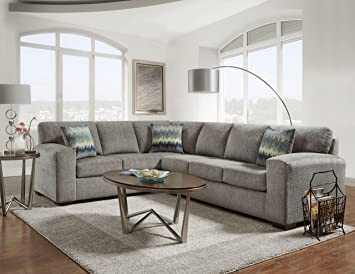 Roundhill Furniture LAF5950SP Bergen Fabric Sectional Sofa: Amazon .