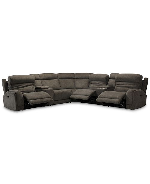 Furniture Winterton 7-Pc. Fabric Sectional Sofa With 3 Power .