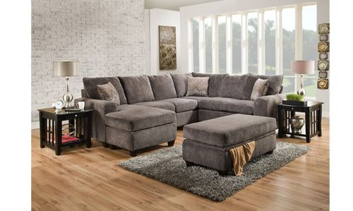 Wesley Smoke Stationary Sectional   At home furniture store .