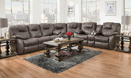 Reclining power sectionalleather styled desi