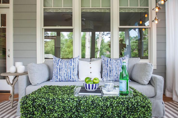 Dove Gray Sunroom Sofa with Grass Coffee Table - Transitional .