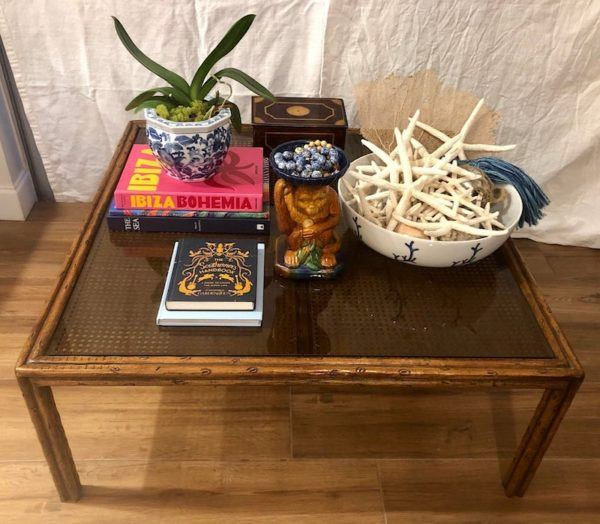 $385 - 1970s-french-faux-bois-and-cane-coffee-table-mid-century .