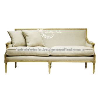 Louis White Fabric Three Seater French Style Sofa - Buy Low Seat .