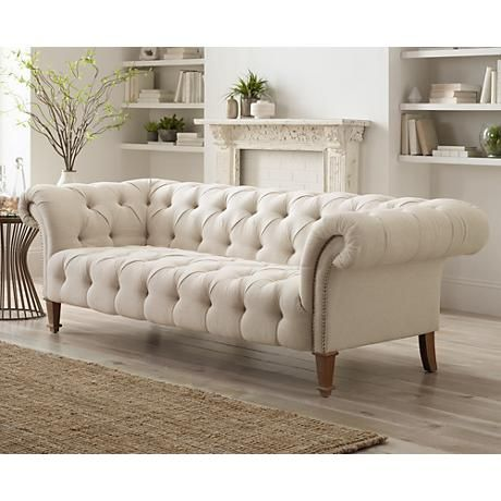 """Tessa 90 3/4"""" Wide Tufted Beige Linen French Sofa - #2X200 