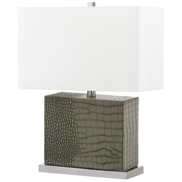 Safavieh Delia 20.5 in. Grey Faux Alligator Table Lamp with Off .