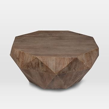 Reclaimed Wood Faceted Coffee Table | Reclaimed wood coffee table .