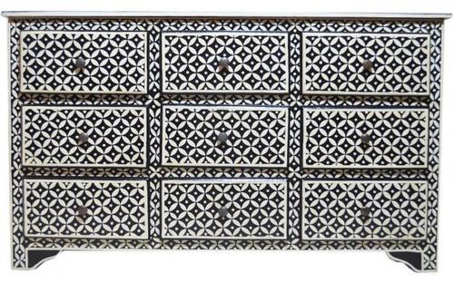 Svart beninlägg Geometriskt mönster Design Byrå med 9 lådor, |  ID.