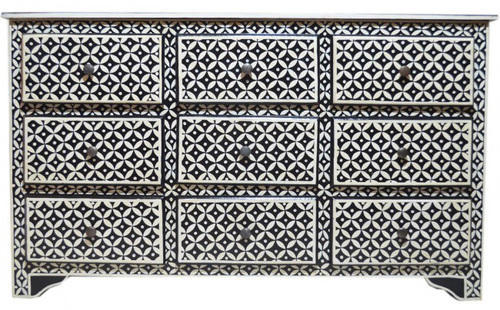 Black Bone Inlay Geometric Pattern Design Chest of 9 Drawers, | ID .